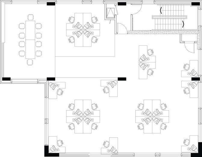 Grundriss einer Büroimmobilie.