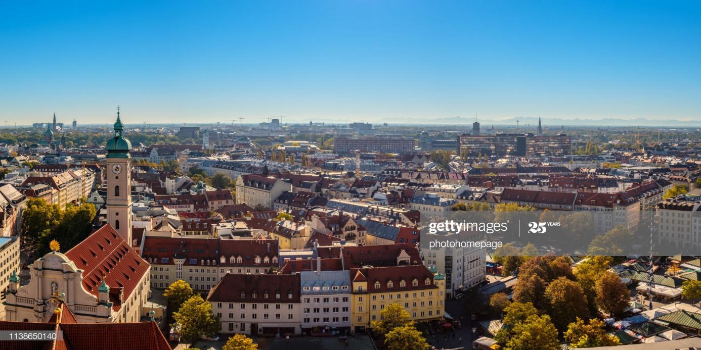 Stadtansicht von [jeweilige Hauptstadt], Bayern